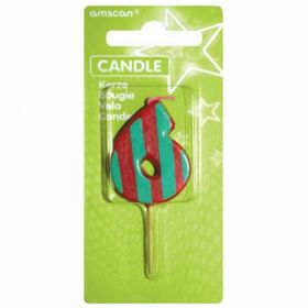 Dots & Stripes Candle Number 6