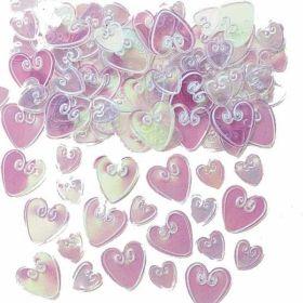 Iridescent Loving Hearts Embossed Confetti