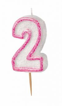 Pink Glitz 2 Party Candle