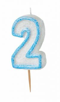 Blue Glitz Number 2 Party Candle