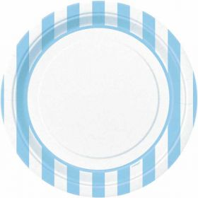"Powder Blue Striped 9"" Plates pk8"