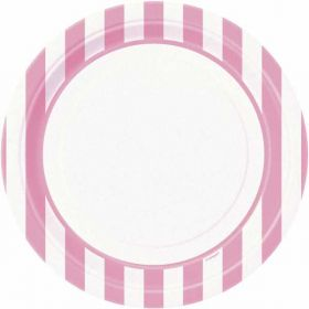 "Lovely Pink Striped 9"" Plates pk8"