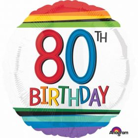 Rainbow Birthday 80th Standard Foil Balloons
