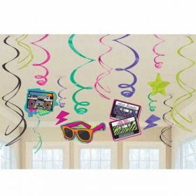 Totally 80s Swirl Decorations pk12