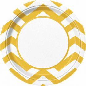 "Sunflower Yellow Chevron 9"" Plates pk8"