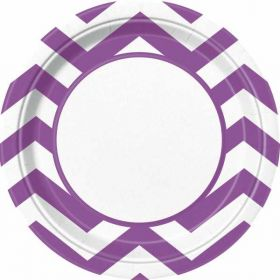 "Pretty Purple Chevron 9"" Plates pk8"