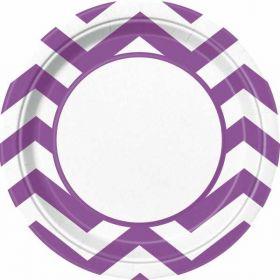 "Pretty Purple Chevron 9"" Plates pk8"