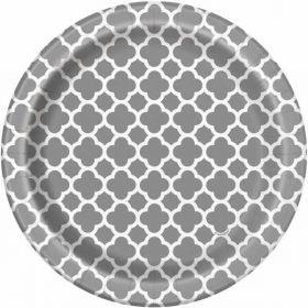 """Silver Quatrefoil 7"""" Plates pk8"""