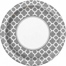 """Silver Quatrefoil 9"""" Plates pk8"""
