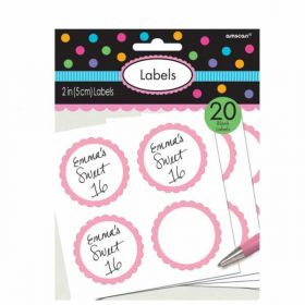 Light Pink Candy Buffet Scalloped Blank Labels