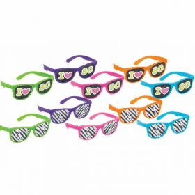 Totally 80s Glasses with Printed Lens pk10