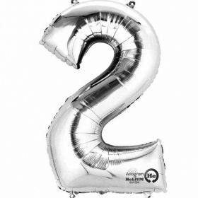 Number 2 Silver Minishape Foil Balloon