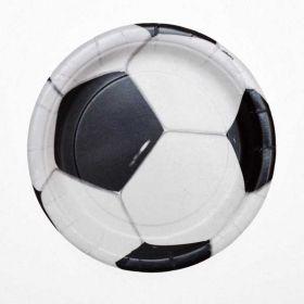 3D Soccer Party Plates, 17cm pk8