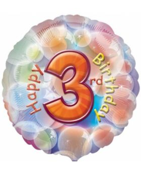 Happy 3rd Birthday Circle Foil Balloon