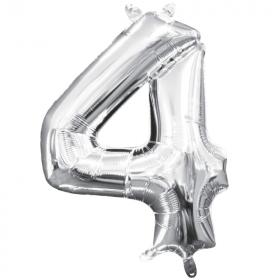 "Number 4 Silver Minishape Air Fill Foil Balloon 16"""