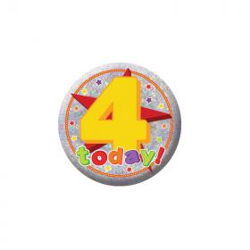 Happy 4th Birthday Holographic Badge