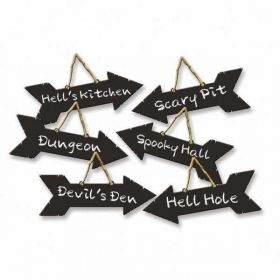 Halloween Direction Signs With Chalk Effects, pk6