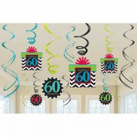 60th Celebrate Swirls Decorations Pack pk12