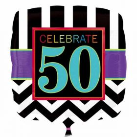 50th Chevron Square Standard Foil Balloon
