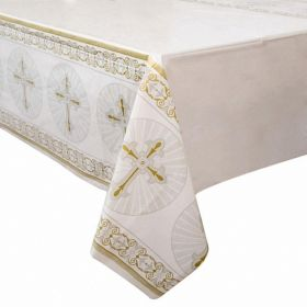 Gold & Silver Radiant Cross Tablecover 54'' x 84''