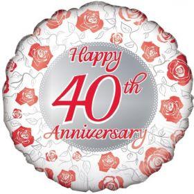 """Ruby 40th Anniversary Foil Balloon 18"""""""