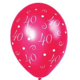 40th Anniversary Metallic Passion Red Printed Party Balloons 25pk