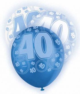 Blue Glitz 40 All Over Print Party Balloons 6pk