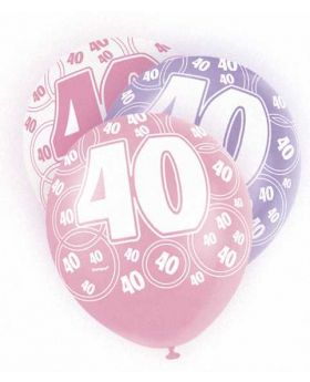 Pink Glitz 40 All Over Print Party Balloons 6pk