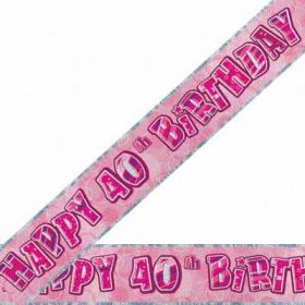 Pink Glitz 40 Prismatic 9ft Party Banner