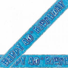Blue Glitz 40 Prismatic 12ft Party Banner