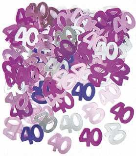 Pink Glitz 40 Party Confetti
