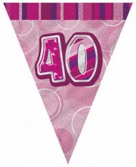 Pink Glitz 40 Party Flag Banner, 9 ft