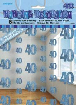 Blue Glitz 40 Hanging String Party Decoration (6 Strings)