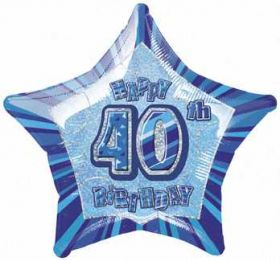 Blue Glitz Star 40 Foil Party Balloon