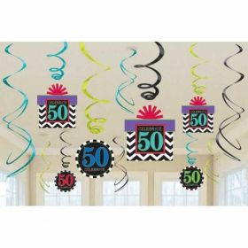 50th Celebrate Swirls Decorations pk12