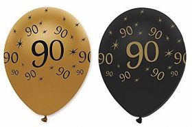90th Gold and Black Balloons pk6