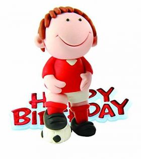 Red Footballer Figure Cake Decoration