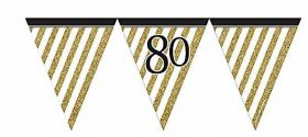 Black & Gold 80th Birthday Flag Bunting