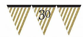 Black & Gold 30th Birthday Flag Bunting