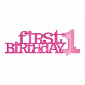 1st Birthday Pink Glitter Centrepiece