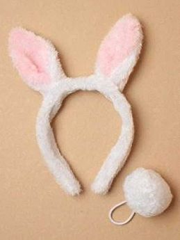 Child size White Bunny Rabbit Ears with matching Tail
