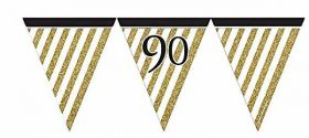 Black & Gold 90th Birthday Flag Bunting