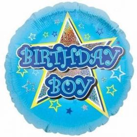 Blue Stars Birthday Standard Holographic Foil Balloon