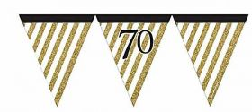 Black & Gold 70th Birthday Flag Bunting