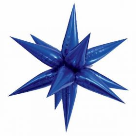 Large Blue Glitz 3D Star Foil Balloon