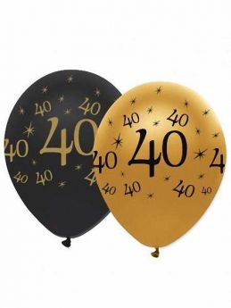 40th Gold and Black Balloons pk6