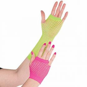 Totally 80s Neon Fishnet Gloves