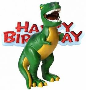 Happy Birthday Dinosaur Cake Topper Figurine