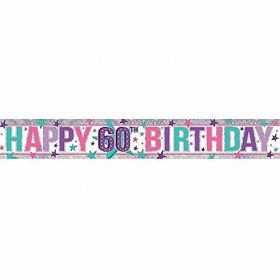 Pink Happy 60th Birthday Holographic Foil Banner 2.7m