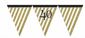 Black & Gold 40th Birthday Flag Bunting